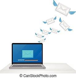 envoi, ordinateur portable, courrier