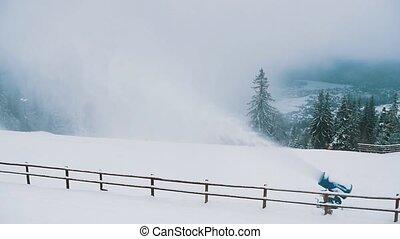 envoi, tatras, ruisseau, slo-mo, puissant, neige, fusil, polonais, hiver