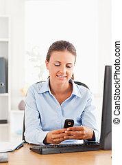 envoi, texte, bureau, message, ouvrier