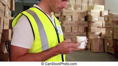 envoi, texte, ouvrier, entrepôt