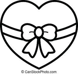envoltório, coração, retro, arco presente