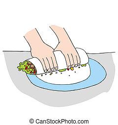 envoltório, salad galinha