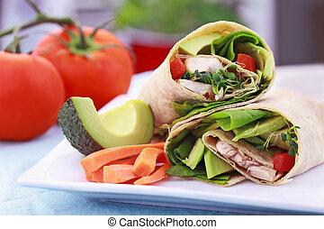 envoltório, vegetariano, sanduíche