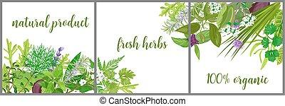 envoltura, invitaciones, etiqueta, publicidad, logo., salud, saludos, etiqueta, flores, realista, diseño, bandera, especias, guirnalda, tarjeta, text., cartel, hierbas, tienda, hecho, cuidado, embalaje