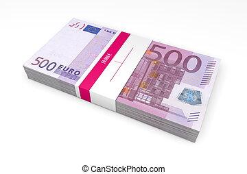 envoltura, notas, paquete, banco, 500, euro