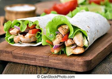 envolturas, legumes, tortilla, carne