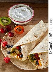 envolturas, saudável, fruta tropical, preparar, creme