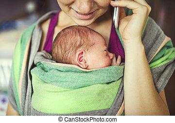envolver, portador del bebé, madre