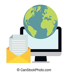 envoyer, email, apparenté