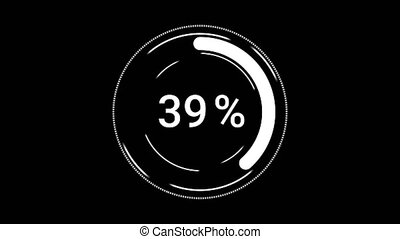 envoyer un fichier par transfert de données en une ordinateur, cent, ou, arrière-plan., barre, indicator., progrès, téléchargement, cercle, noir