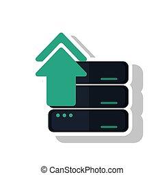 envoyer un fichier par transfert de données en une ordinateur, flèche, de, numérique, concept