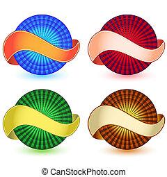 envuelto, esfera, bandera, alrededor