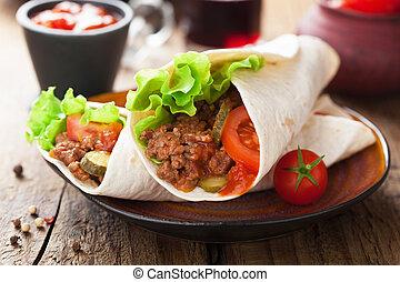 envuelve, vegetales, tortilla, carne
