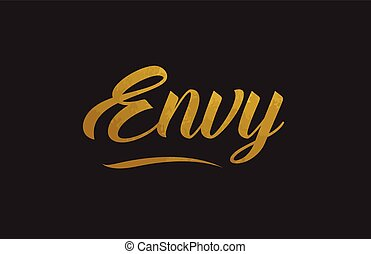 Envy gold word text illustration typography