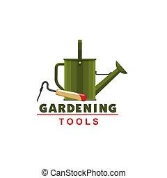 enxada, jardinagem, aguando, vetorial, lata, agricultor, ícone