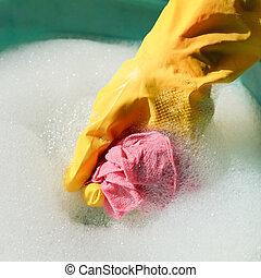 enxaguar, espanador, luva, mão, borracha, amarela, molhados