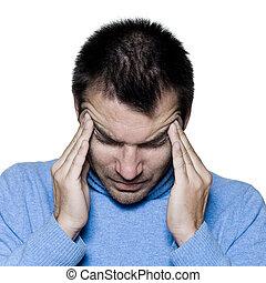 enxaqueca, retrato, homem, dor de cabeça