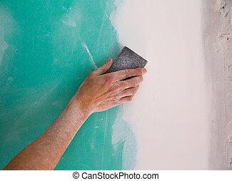 enyesado, sanding, mano, plaste, costura, drywall, hombre