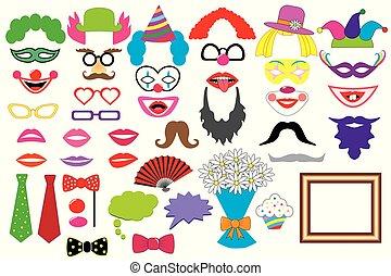 enz., hoedjes, pruiken, foto, set., lippen, bril, icons., kraam, vector., feestje, vastknopen, clowns., props., mustaches