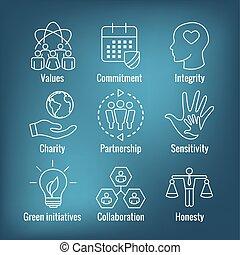 enz., integriteit, eerlijkheid, verantwoordelijkheidsgevoel, samenwerking, set, pictogram, schets, sociaal