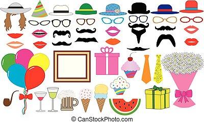 enz., vastknopen, bouquetten, set., lippen, bril, icons., pet, verjaardag hoed, vector., feestje, ballons, mustaches