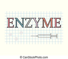 enzyme word on checkered paper sheet