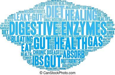enzymes, digestif, mot, nuage