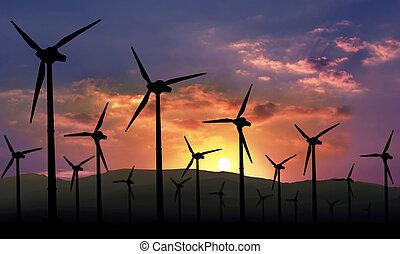 eolian farm against sunset, renewable energy