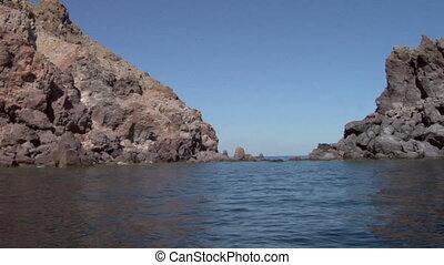 eolian island coast 07 - Mediterranean rocky coast, eolian...