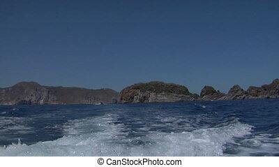 eolian island sea wake 02 - Boat wake on mediterranean sea,...