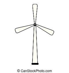 eolic, エネルギー, 黒, 白, タービン, 風