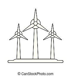 eolic, シンボル, タービン, 黒, 白, エネルギー, 風