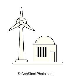 eolic, タービン, シンボル, 黒, 白, エネルギー, 風