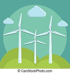 eolic, desenho, turbinas