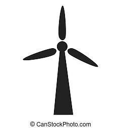 eolic, energia, ilustração, vetorial, turbina, vento, ícone