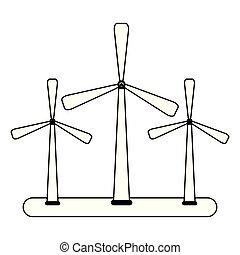 eolic, energia, turbinas, pretas, branca, vento