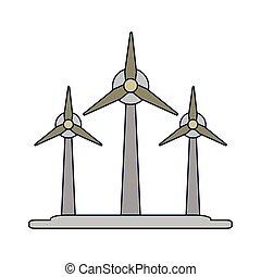 eolic, energia, turbinas, símbolo, vento