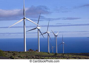 eolic, generatorer, in, a, vind lantgård