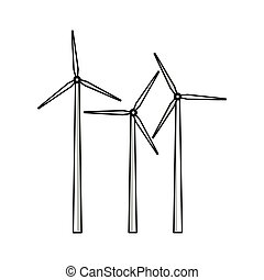 eolic, turbina, ícone