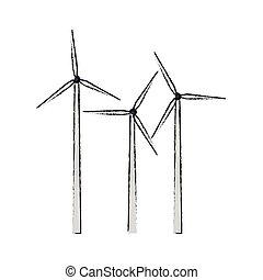 eolic turbine icon - Eolic turbine icon over white...