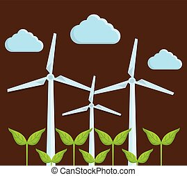 eolic turbines design - green plants and eolic turbines icon...