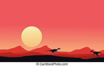 Eoraptor landscape at afternoon