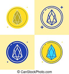 EOS altcoin icon set in flat and line style. Cryptocurrency coin symbol. Vector illustration.