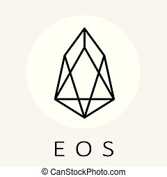 EOS decentralized blockchain applications on Web Assembly vector black white logo.
