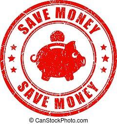 epargner argent, vecteur, timbre
