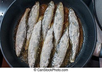 eperlano, pez, sabroso, hotplate, pequeño, barbacoa, frito
