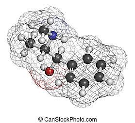 Ephedrine stimulant drug molecule. Alkaloid found in Ephedra...