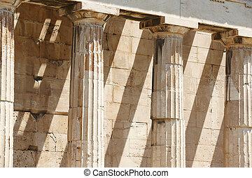 ephesto, athens., dórský, řecko, chrám, sloupec