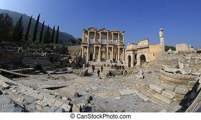 Ephesus Ancient City - tourist visiting ruins Celsius...