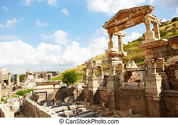 Ephesus in Turkey - Ruins of the Fountain of Traian in the...